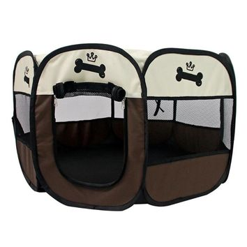 Portable Pet Tent Dog House Cage Folding Octagonal Fence Puppy Dog Kennel Cat Tent Outdoor Pet Playing Supplies
