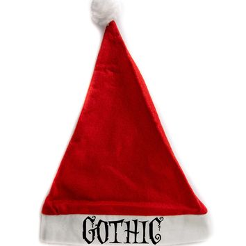 Gothic Holiday Christmas Hat Santa Cap Red/White Felt w/ Pom Pom Merry Gothmas