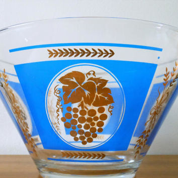 Hazel Atlas Blue and Gold Grape and Wheat Bowl, Mid Century Salad Bowl, Hazel Atlas Chip & Dip, Mid Century Modern Punch Bowl