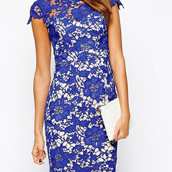 Blue Crochet Lace Keyhole Back Midi Bodycon Dress