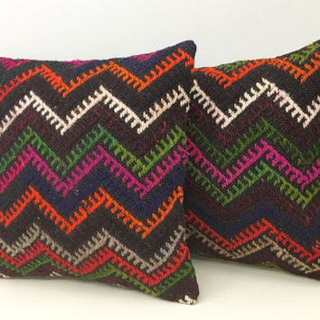 A Pair Turkish kilim Pillows, Wool pillow, Kilim, Pillow Cover, Outdoor pillows, Boho pillow, Throw Pillows, Ethnic Pillow, Rug Pillow Cover