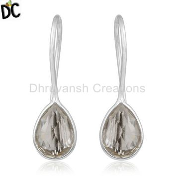 925 Sterling Silver Design Drop Earring Crystal Quartz Gemstone Jewelry