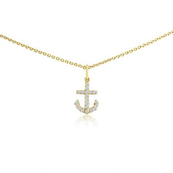 Small Diamond Anchor Necklace Yellow Gold