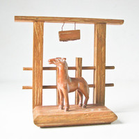 Horse Bookends, Carved Wood Horses, South West Book End, Set 2