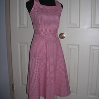 vintage red and white Checkered Dress ... check .. sun dress .. Midi .. Size 5 6