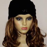 Black Chunky Women Hat / Crochet Beanie with flower