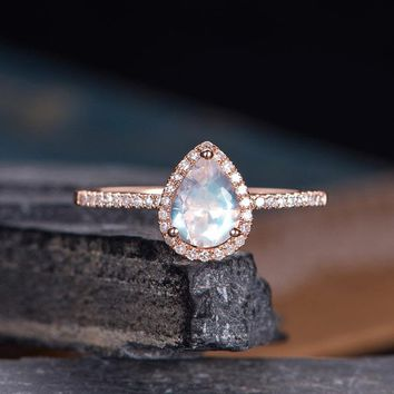 Moonstone Engagement Ring Pear Shaped Ring Bridal Diamond Halo Women RING
