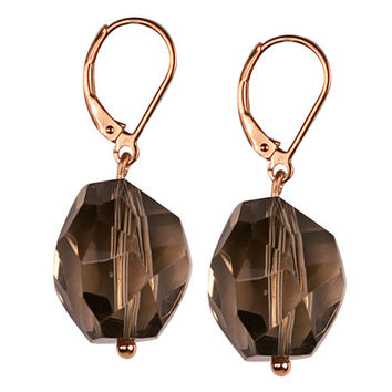 Smoky Faceted Nuggets Sterling Silver Earrings