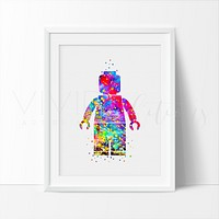 Lego Man 2 Watercolor Art Print