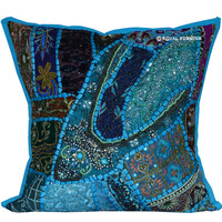 "16"" Vintage Blue Sequin Beads Work Ethnic Decor Throw Pillow Sham on RoyalFurnish.com"
