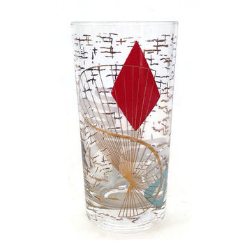 Atomic Tumbler-Drinking Glass-Cool 60's Design-Red and Gold-Turquoise-Single Glass-Mid Century-Vintage Kitchen-Barware-Gift