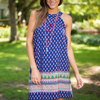 Pattern To You Dress, Navy