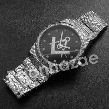Iced Out Hip Hop Freemason Silver Nugget Watch (Dark Face)