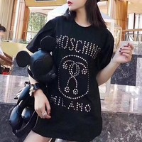 """""""Moschino"""" Women Casual Fashion Personality Rivet Letter Pattern Short Sleeve T-shirt Top Tee"""