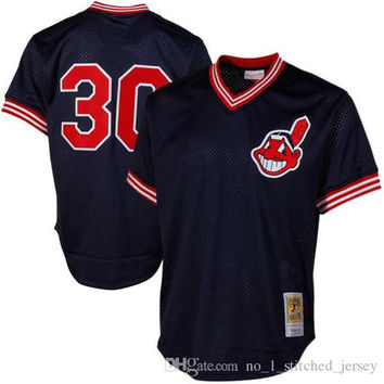 Stitched Cleveland Indians Joe Carter 30# Mitchell & Ness Navy 1986 Authentic Cooperstown Collection Mesh Batting Practice baseball Jerseys