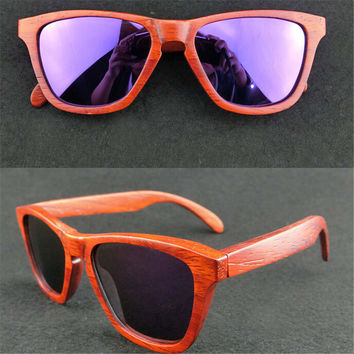 handmade red wood sunglasses + bamboo box gift 35