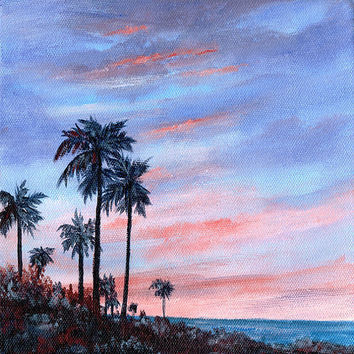 Florida Sunset Original Acrylic Painting  8 X8 Canvas Seascape Palm Trees