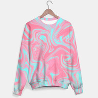 SUMMER WAVES SWEATER #sweater #clothing #sprot #marble #pastel #pink #teal #modern #abstrac #independet #fashion #pattern #designer #trend