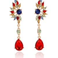 Casual Faux Crystal Oval Water Drop Earring