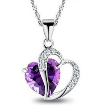 Jewelry Silver Platinum Plated Elegant Love Heart Amethyst Purple/Blue Crystal CZ Diamond Necklace Pendant A26