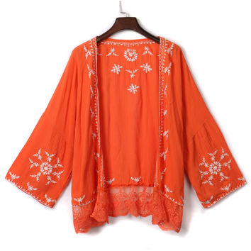 Orange Embroidery Lace Panel Hem Bat Sleeve Kimono