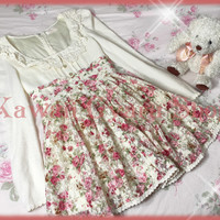 Liz Lisa Brushed Fleece and Floral Lace Winter Dress from Kawaii Gyaru Shop