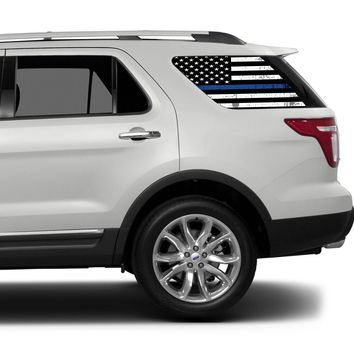 Universal Thin Blue Line American Flag Window Tint Perforated Vinyl Fits: Any SUV