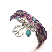 Wrap Bracelet Satin and Chain with Peace Sign Charm