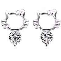 Hello Kitty Crystal Zircon Earrings