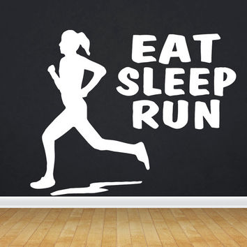 Eat Sleep Run Wall Decal GYM Fitness Runner Workout Crossfit Running Jogging Health Woman Man Run Stickers Wall Art Home Decor  tr180