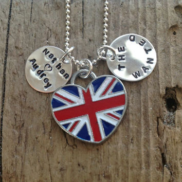 The Wanted British Flag Charm Necklace Pendant by tagsoup on Etsy