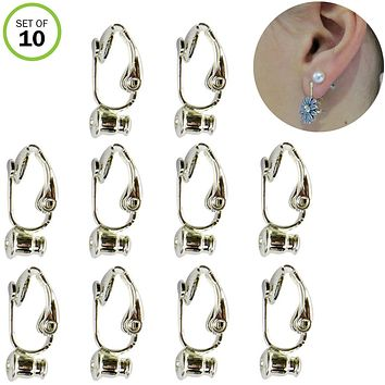 Evelots Clip On Earring Converters-Turn Studs/Pierced Into Clips-Silver-Set/10