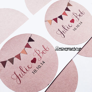 "Personalized Buntings Design Wedding Labels. Name, Monogram or Initials Kraft Brown Mason Jar Labels - 2"" & 2.5"" round stickers"