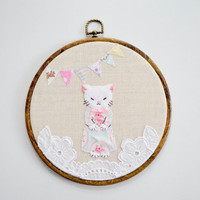 Cute vintage cat embroidery in a wooden by MademoiselleOpossum