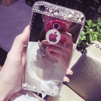 Handmade Diamonds Mirror Case Cover for iPhone 5s 6 6s Plus Gift 248