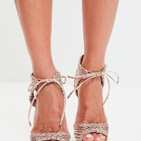 Missguided - Rose Gold Woven Ankle Tie Sandals