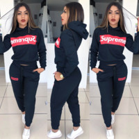 SUPREME Two Pieces Sportswear Top and Pants Sets