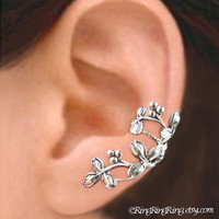 925 Berry Leaf   Sterling Silver ear cuff earring by RingRingRing