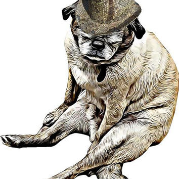 tired old pug dog snake skin fedora hat printable art print png clipart download digital image graphics printable animal dog artwork