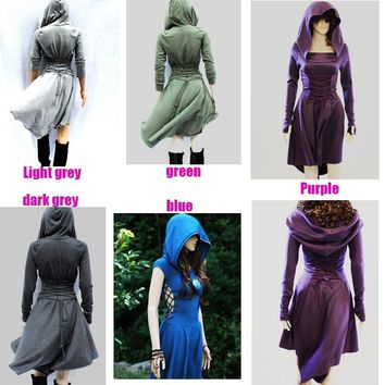 2018 Women's Fashion Hooded Parka Autumn Women Coat Women Sexy Medieval Style Back Lace Up Dress