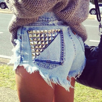 Micro Studded Jeans Shorts by JuliLand on Etsy