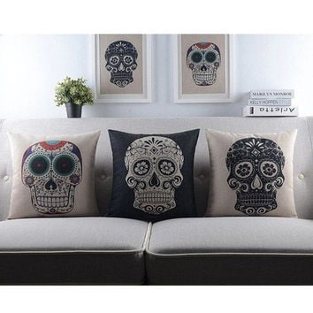 Vintage Retro Home Decor Skull Sugar Cotton Linen Throw Pillow Sofa Cover Case = 1929924804