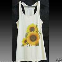 Flower sunflower tank top dress leave nature tshirt tunic M sleeveless shirt