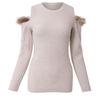 Stylish Round Neck Long Sleeves Off-The-Shoulder Sweater For Women