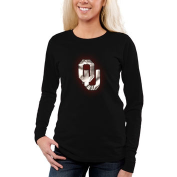 Oklahoma Sooners Women's Chrome Fusion Fitted Long Sleeve T-Shirt – Black