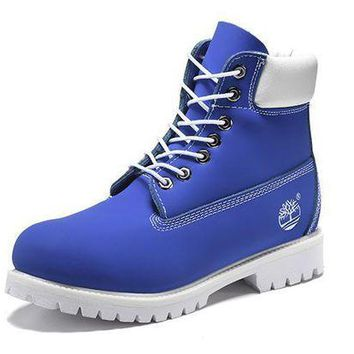 DCK7YE Best Deal Online Timberland 10061 Leather Lace-Up Boot Men Women Shoes Blue White
