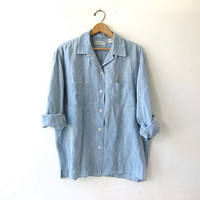 vintage linen shirt. baby blue linen button down shirt. oversized slouchy shirt. light wash linen top. modern minimalist.