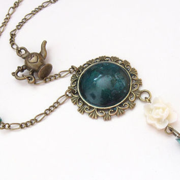 Jasmine - oriental vintage necklace with Alladin lamp, teal cabochon and white flower