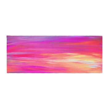 "Ebi Emporium ""Bright Horizons 2"" Magenta Multicolor Painting Bed Runner"