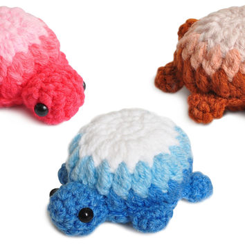 Pink;Blue;Brown Turtle Handmade Amigurumi Stuffed Toy Knit Crochet Doll VAC